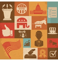 Retro political election campaign icons set vector