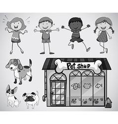 Children and pet vector image