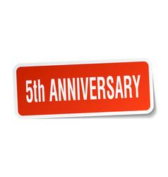 5th anniversary square sticker on white vector