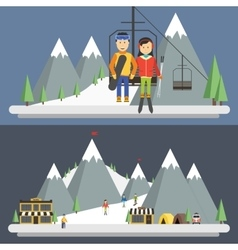 Ski resort in mountains winter time vector
