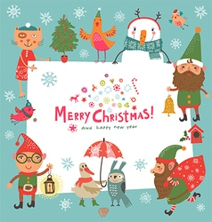 Christmas background with Elf vector image