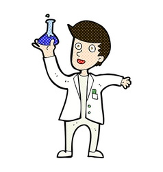 Comic cartoon happy scientist vector