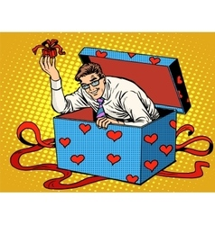 Man valentine day surprise box love gift vector
