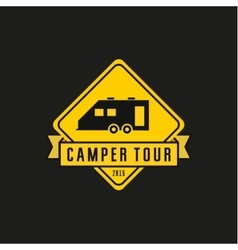 Camper yellow road sign  machine vector