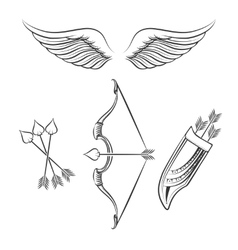 Cupid weapons icons vector