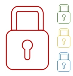 Lock set of line icons vector