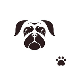 Pug dog funny face with paw print vector