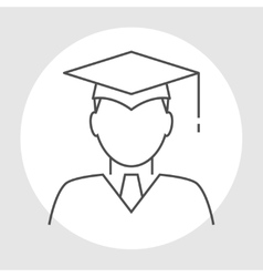 Graduate avatar line icon vector