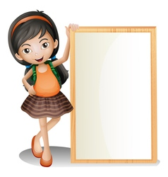 A young lady beside an empty signboard vector image vector image