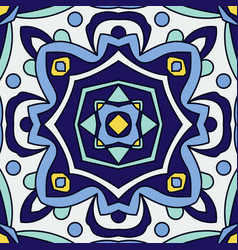 Blue ornament traditional portuguese azulejos vector