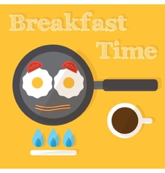 Breakfast time Fried eggs making process preparing vector image vector image
