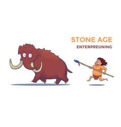 Cartoon caveman with spear hunting mammoth vector