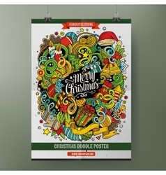 Cartoon doodles Happy New Year poster template vector image