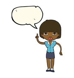 Cartoon woman with idea with speech bubble vector