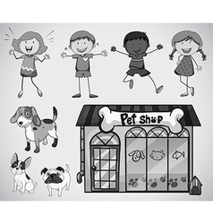 Children and pet vector image vector image