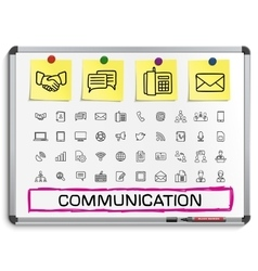 Communication hand drawing line icons vector image