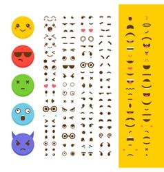 Create your own emoticon Kawaii faces Emoji Avatar vector image vector image