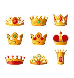 Crowns - realistic set of royal headgear vector