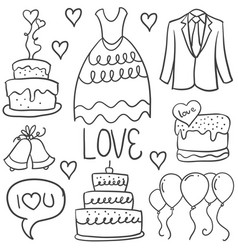 Doodle of wedding element style collection vector