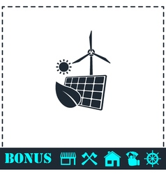 Eco power icon flat vector image
