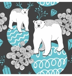 Endless background with white bear on the ice vector