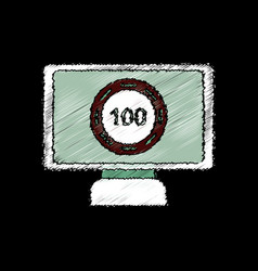 Flat shading style icon casino chip on screen vector