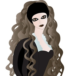 Goth girl with long wavy hair vector image vector image