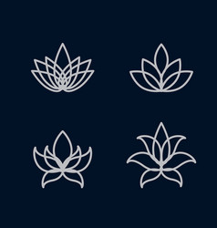 lotus flower icon set vector image vector image