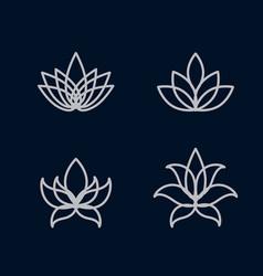 Lotus flower icon set vector