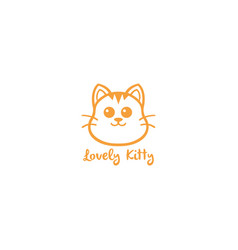 Lovely kitty cute cat yellow line art logo vector