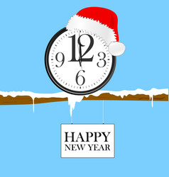 New year clock with red christmas hat vector
