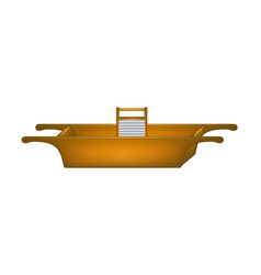 Old wooden washtub and wooden washboard vector