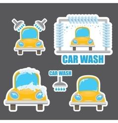 Orange car wash icons set vector