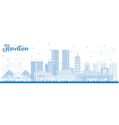 Outline shantou china skyline with blue buildings vector