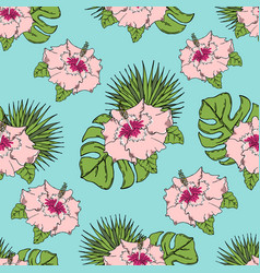 pattern with tropical leaves and flowers on a vector image