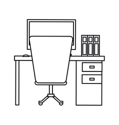 Pictogram workplace office space equipment design vector