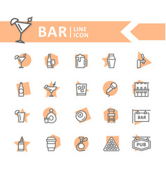 set of alcohol and bar night club line vector image vector image