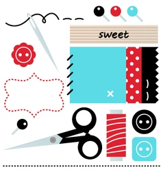 Sewing set isolated on white - blue and red vector image vector image