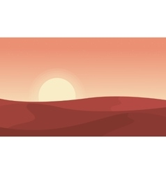 Silhouette of desert at sunrise landscape vector