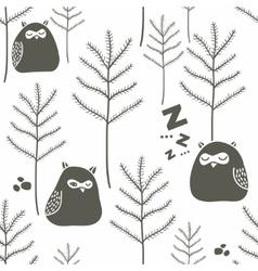 Sleeping birds in winter forest vector