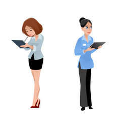 two girls secretaries vector image vector image