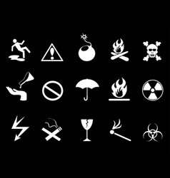 white symbols - hazard warning icons set vector image vector image