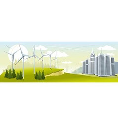 Wind turbine park vector