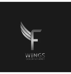 Wings F letter logo vector image vector image