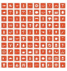 100 barbecue icons set grunge orange vector