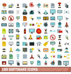 100 software icons set flat style vector image
