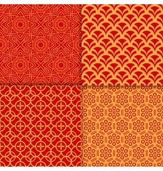 Chinese red geometric pattern set vector image