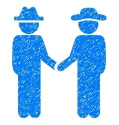 Gentleman handshake grainy texture icon vector