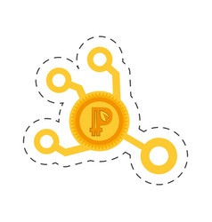peercoin money golden cut line vector image