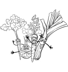 Cartoon soup vegetables for coloring book vector